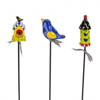 """Birdhouse Party 12"""" Plant Pokes"""