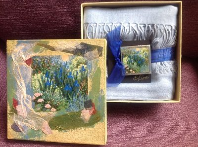 Moon Garden Keepsake Box with Scarf and Magnetic Pin