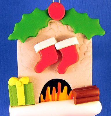 Stone Fireplace Ornament-2 stockings