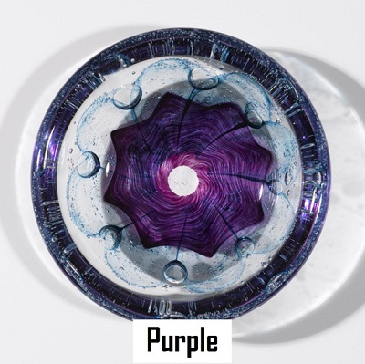 Foil Glass Swedish Bowl - Purple