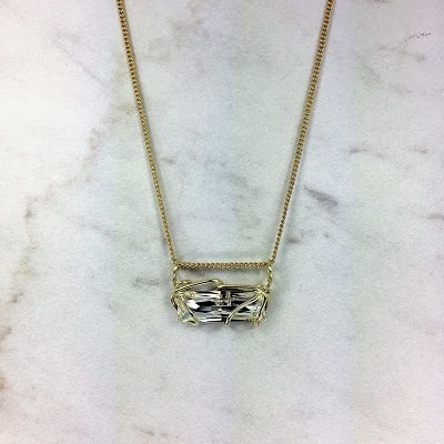 Bar Slide Neck - Gold chain, Clear Stone