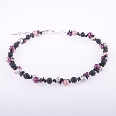Frosted Black and Pink Beaded Necklace