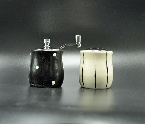 Petite Black White Salt-Pepper Shakers
